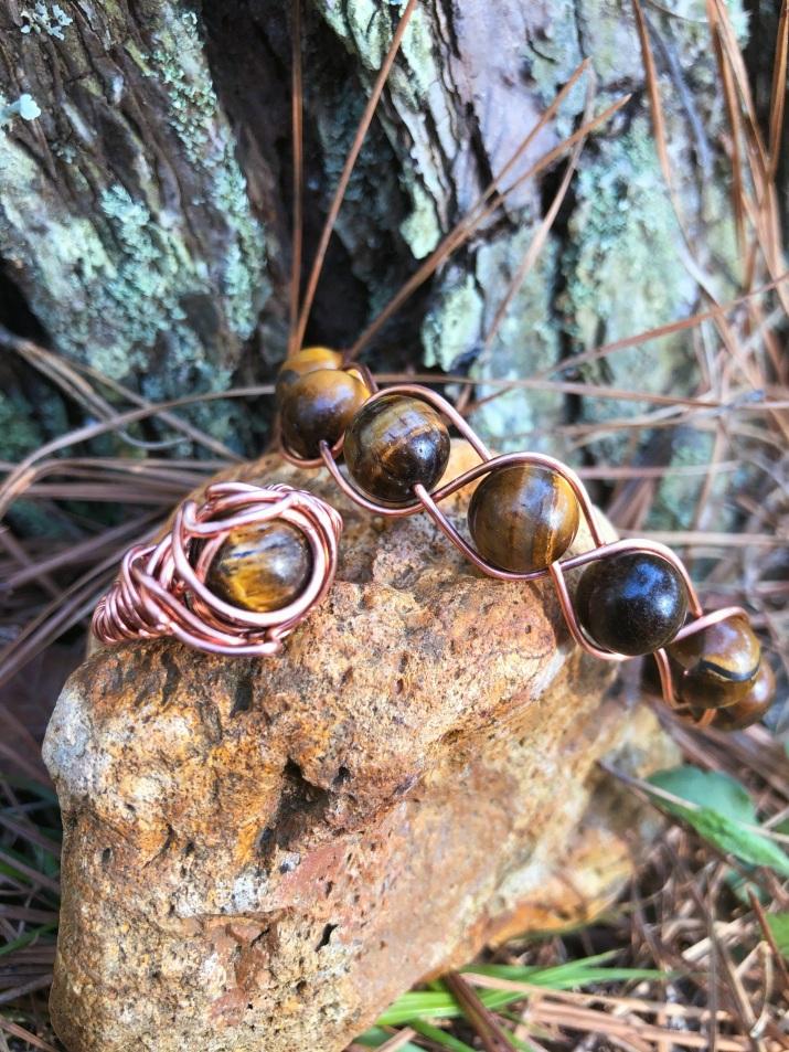 Tiger's Eye Crystal Bracelet and Ring